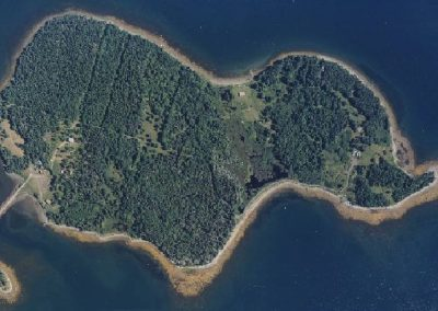 Photo is an Aerial View of Oak Island Nova Scotia