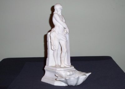 Thuringia Germany Hard Paste Porcelain Statue with Holy water dish